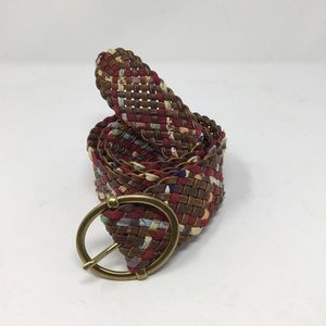 Target multi-color brown weave belt buckle gold